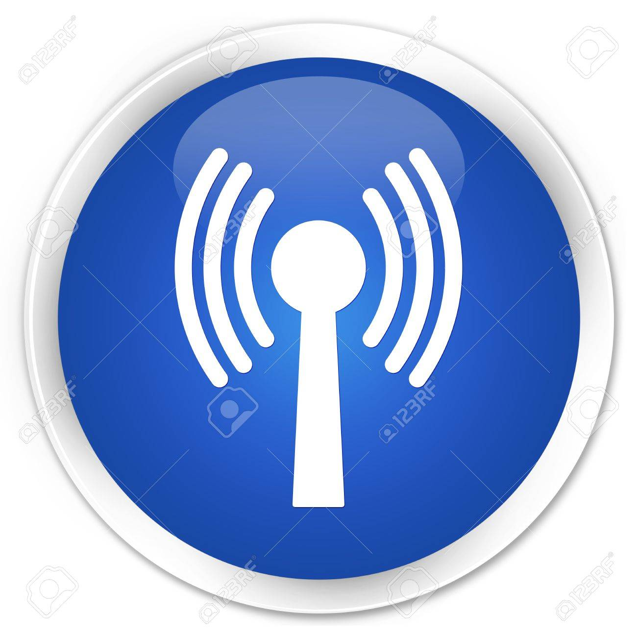 Wlan network icon glossy blue button Stock Photo - 15843395