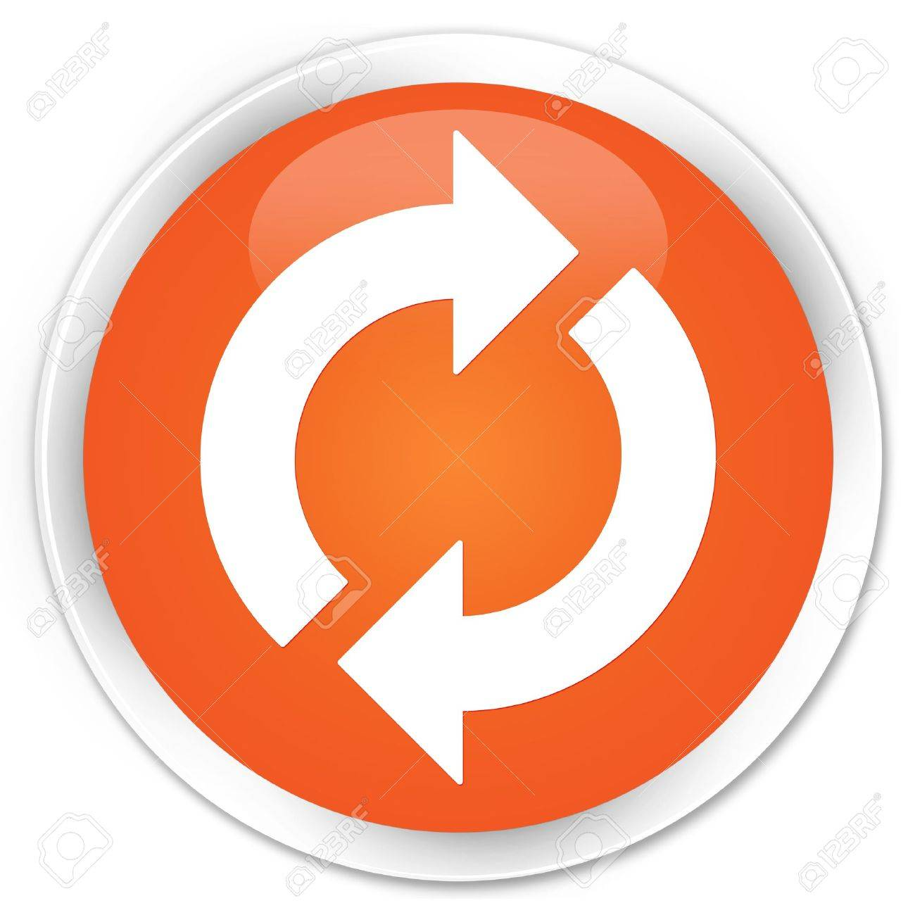 Update icon glossy orange button Stock Photo - 16278993