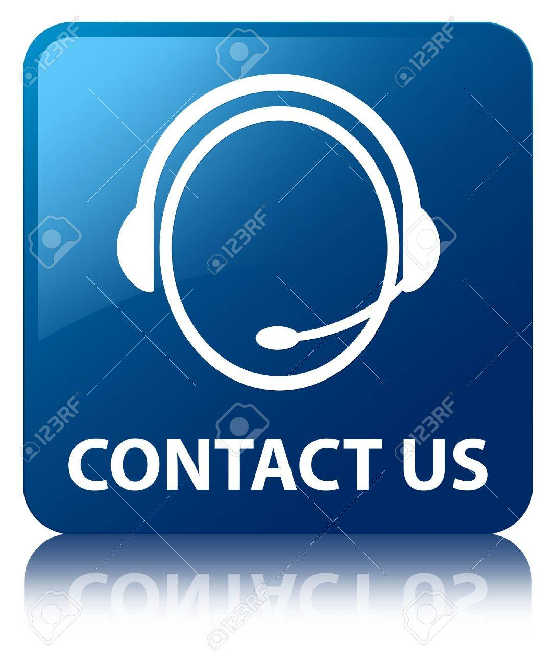 Contact us  customer care headphone  glossy blue reflected square button Stock Photo - 16583595