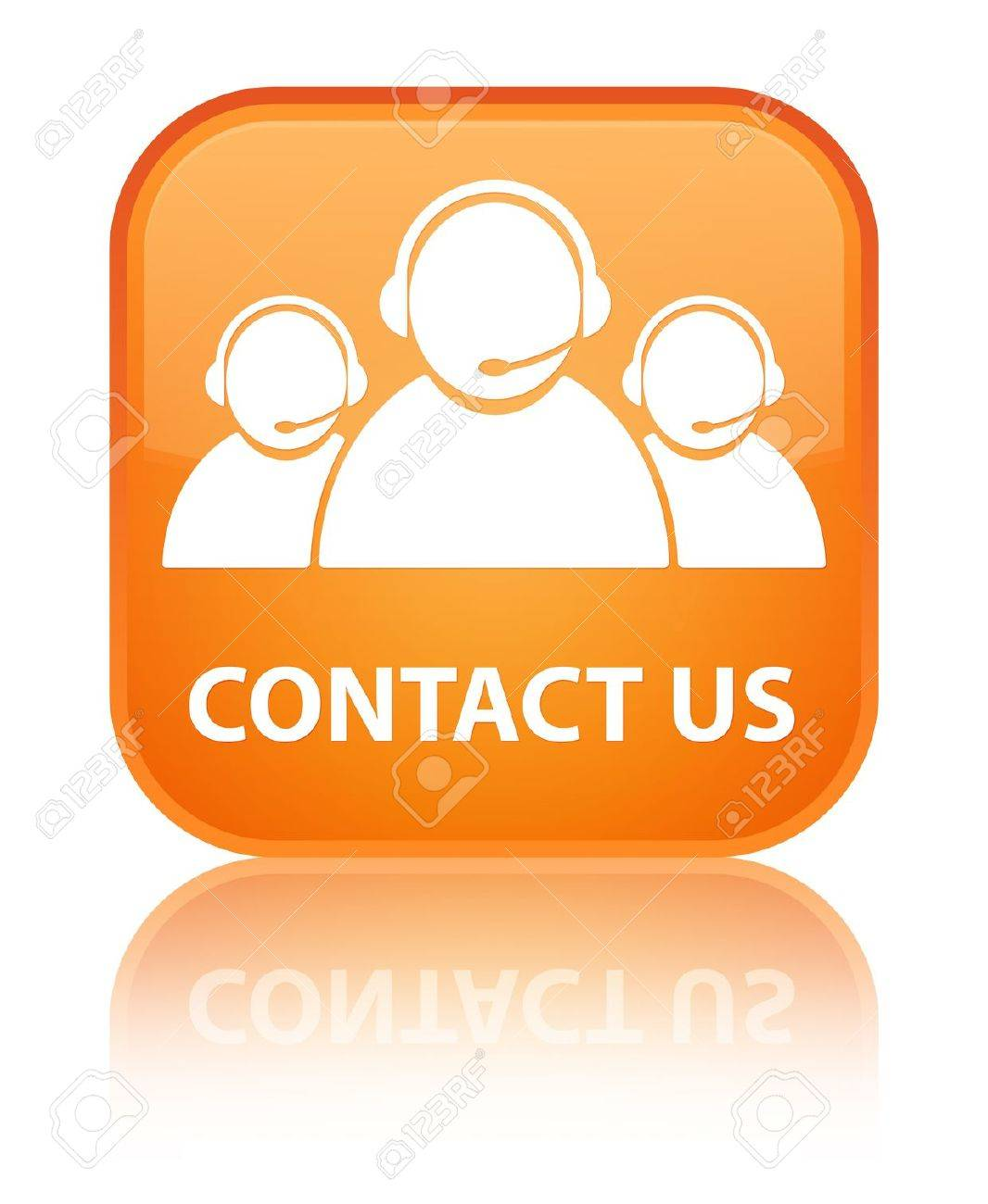Contact us  customer care team  glossy orange reflected square button Stock Photo - 16624454