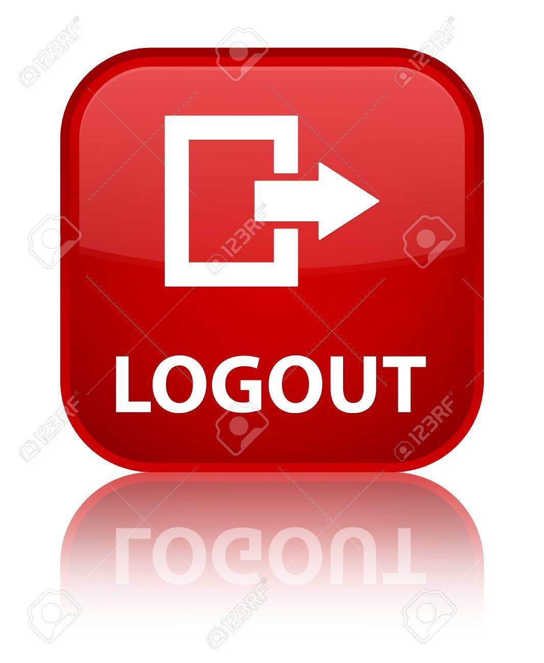 Logout glossy red reflected square button Stock Photo - 16624446