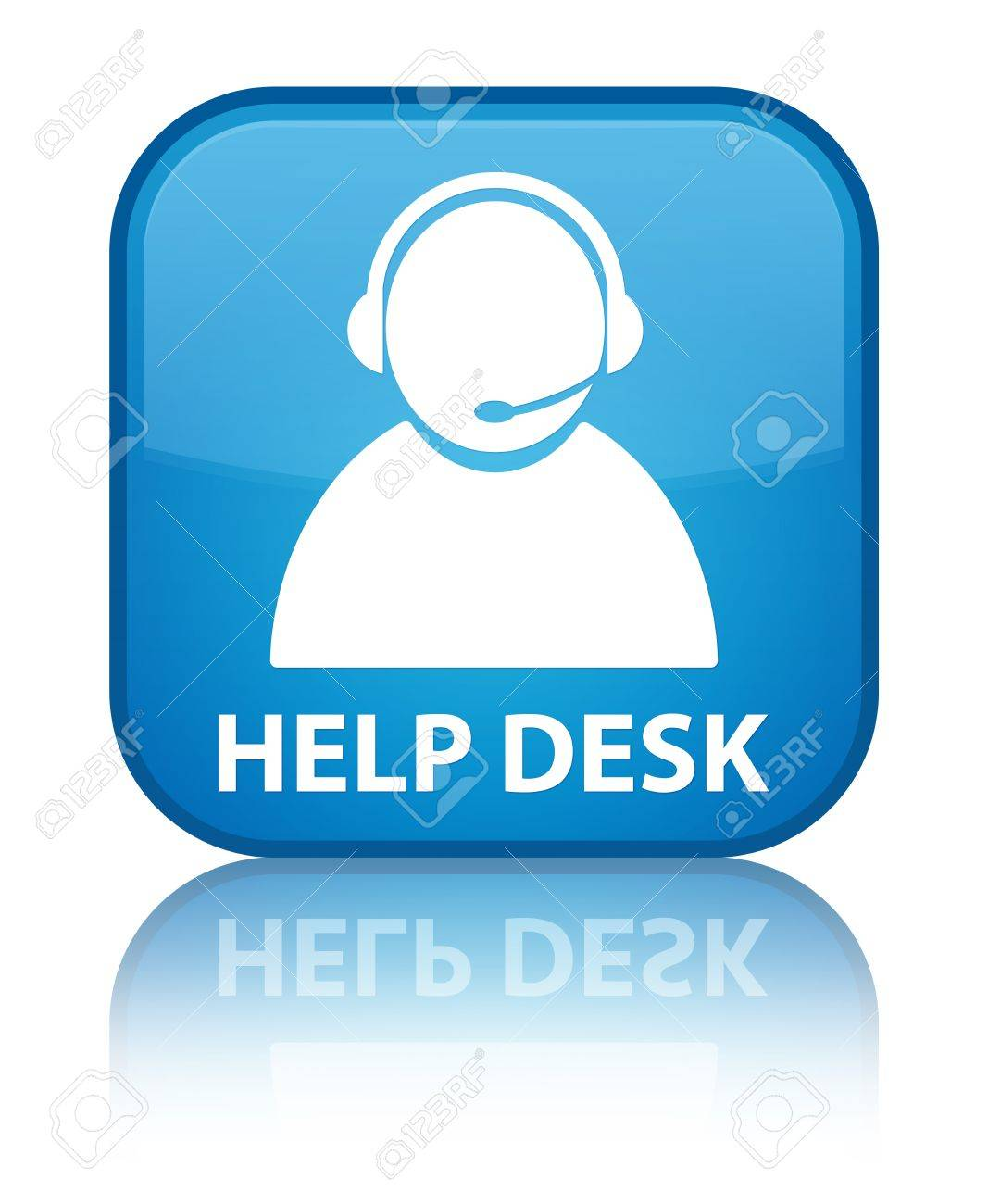 Help desk glossy blue reflected square button Stock Photo - 18570057