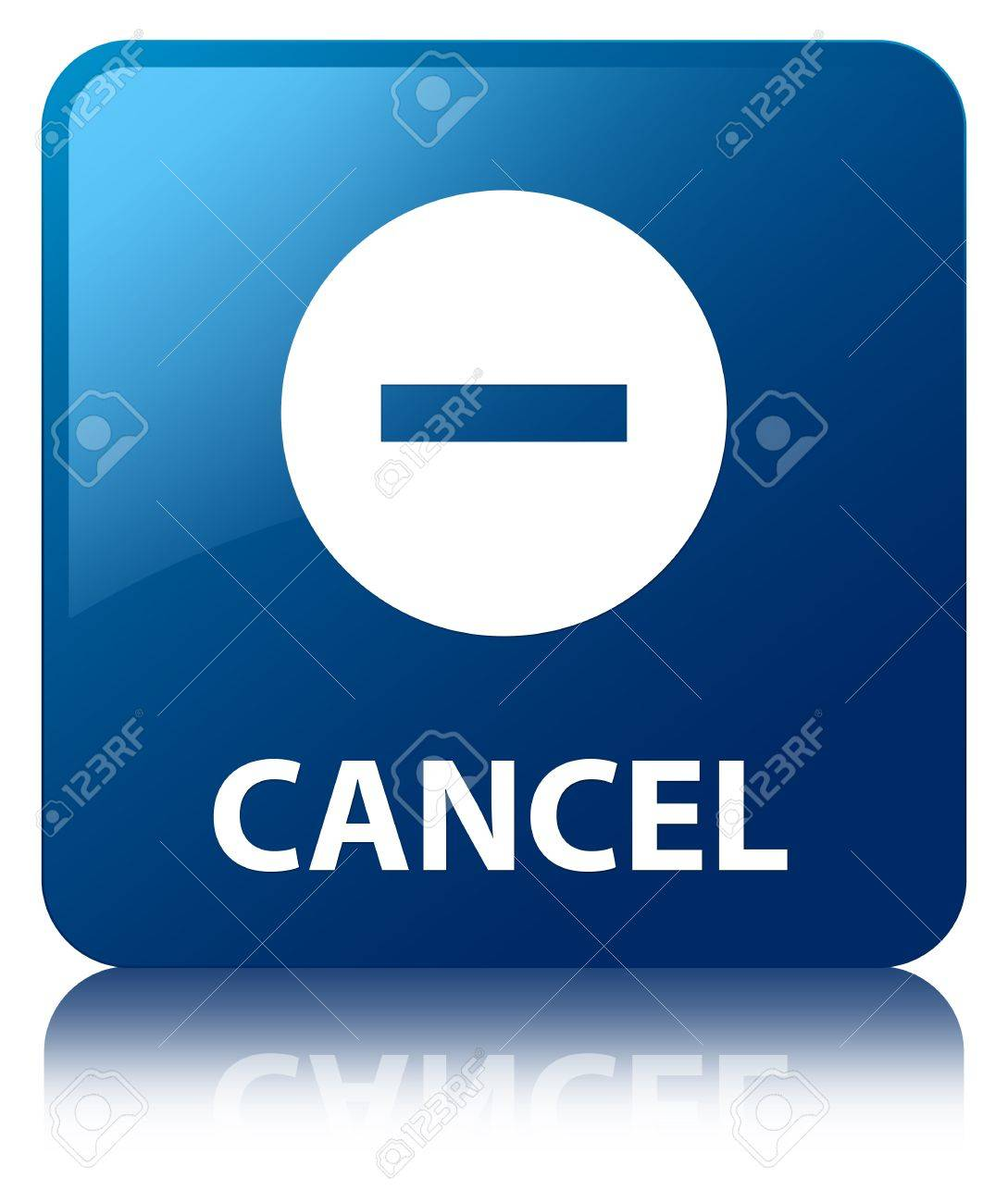 Cancel glossy blue reflected square button Stock Photo - 18763327