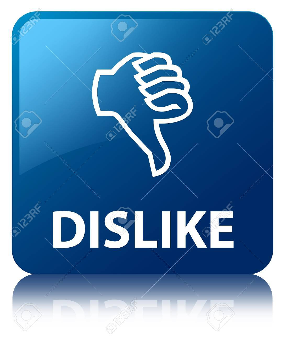 Dislike glossy blue reflected square button Stock Photo - 18763312