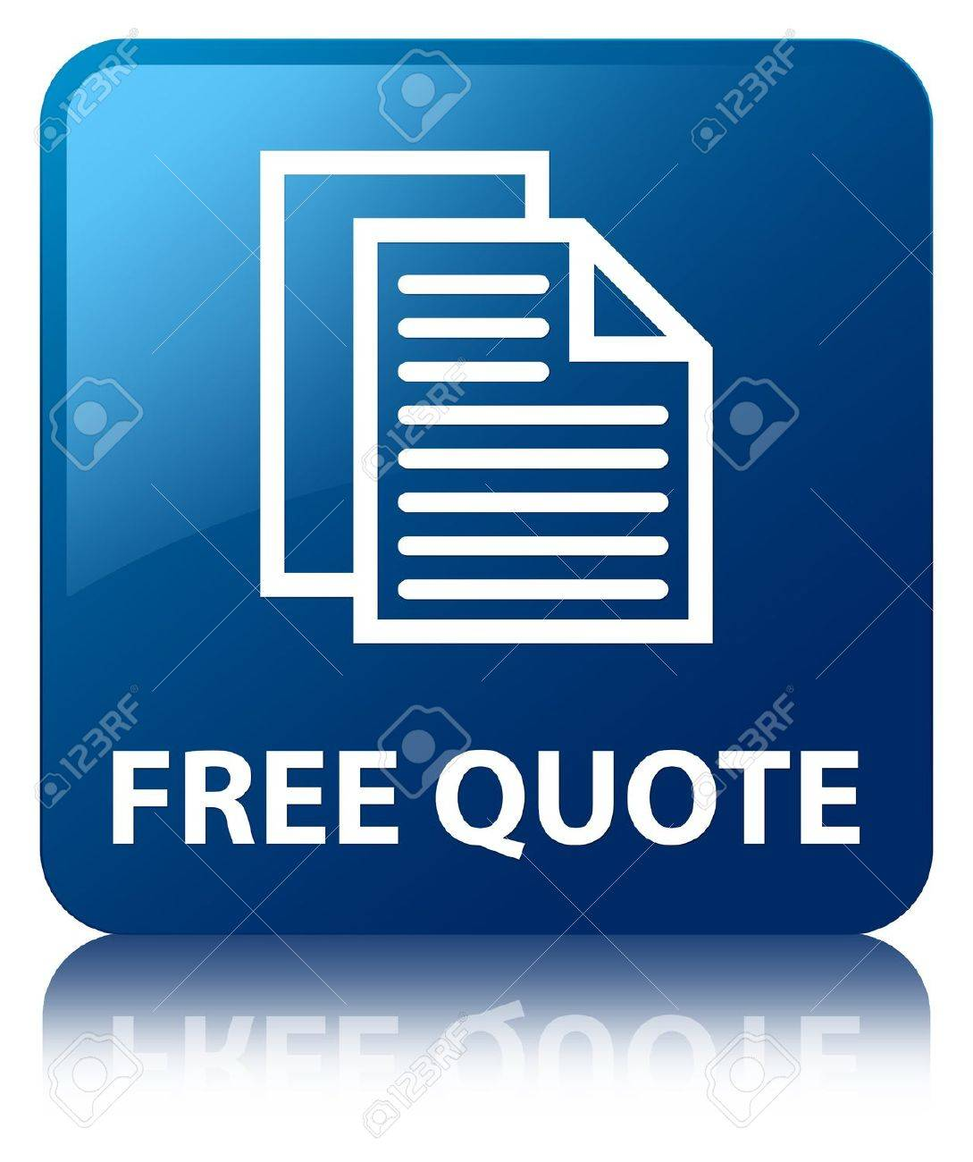 Free Quote Free Quote Glossy Blue Reflected Square Button Stock Photo