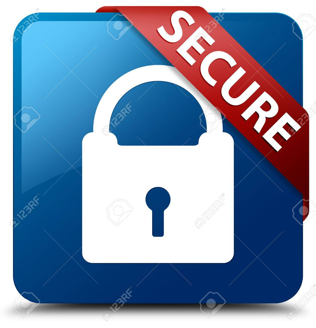 Secure  Padlock icon  glassy red ribbon on glossy blue square button Stock Photo - 19654952