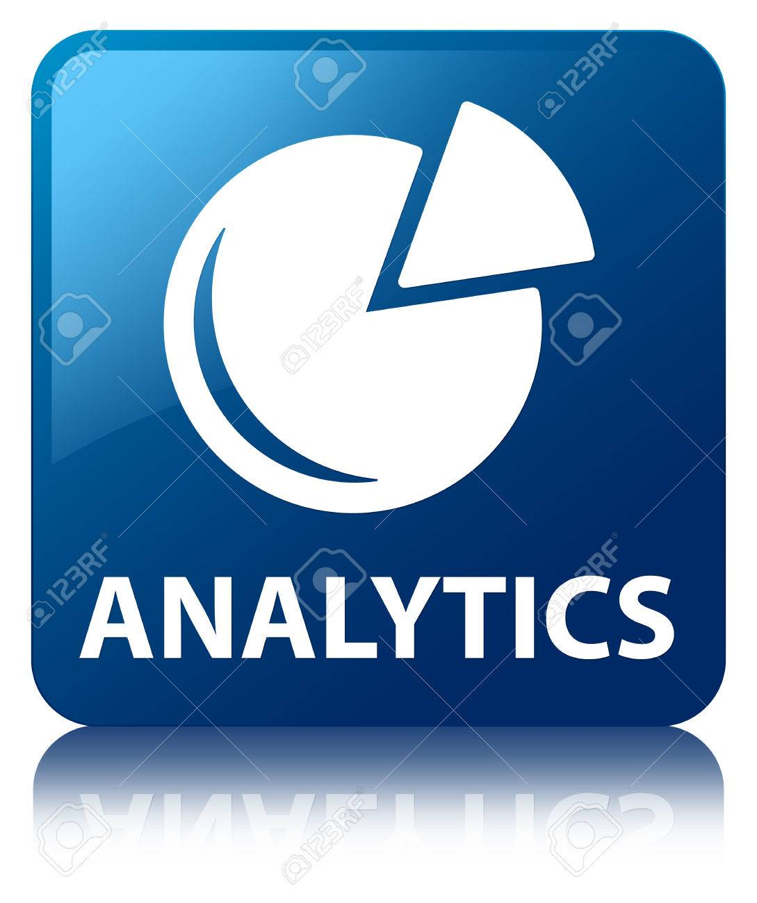 Analytics  graph icon  glossy blue reflected square button Stock Photo - 22230994