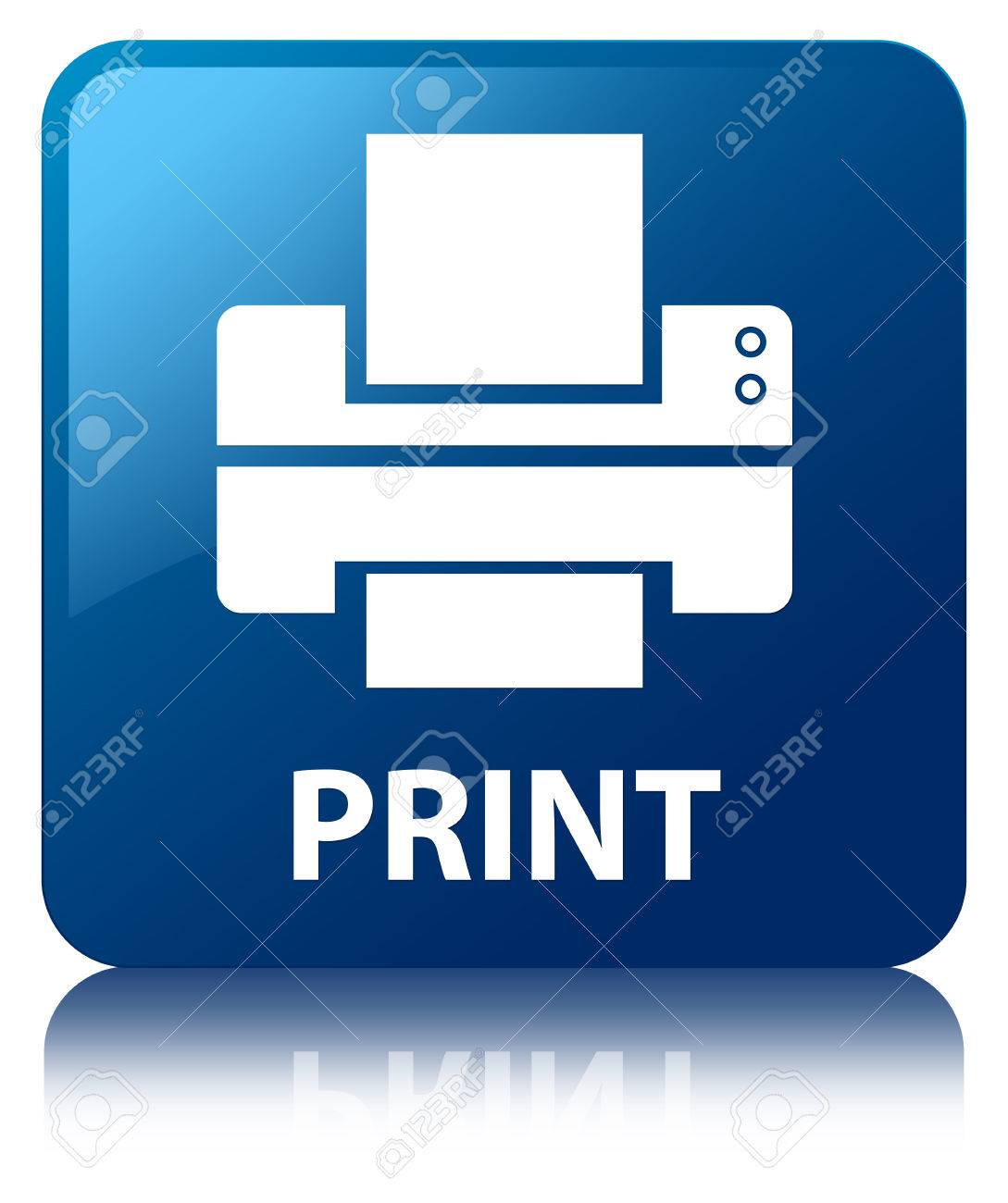 Print Glossy Blue Reflected Square Button Stock Photo, Picture And ...