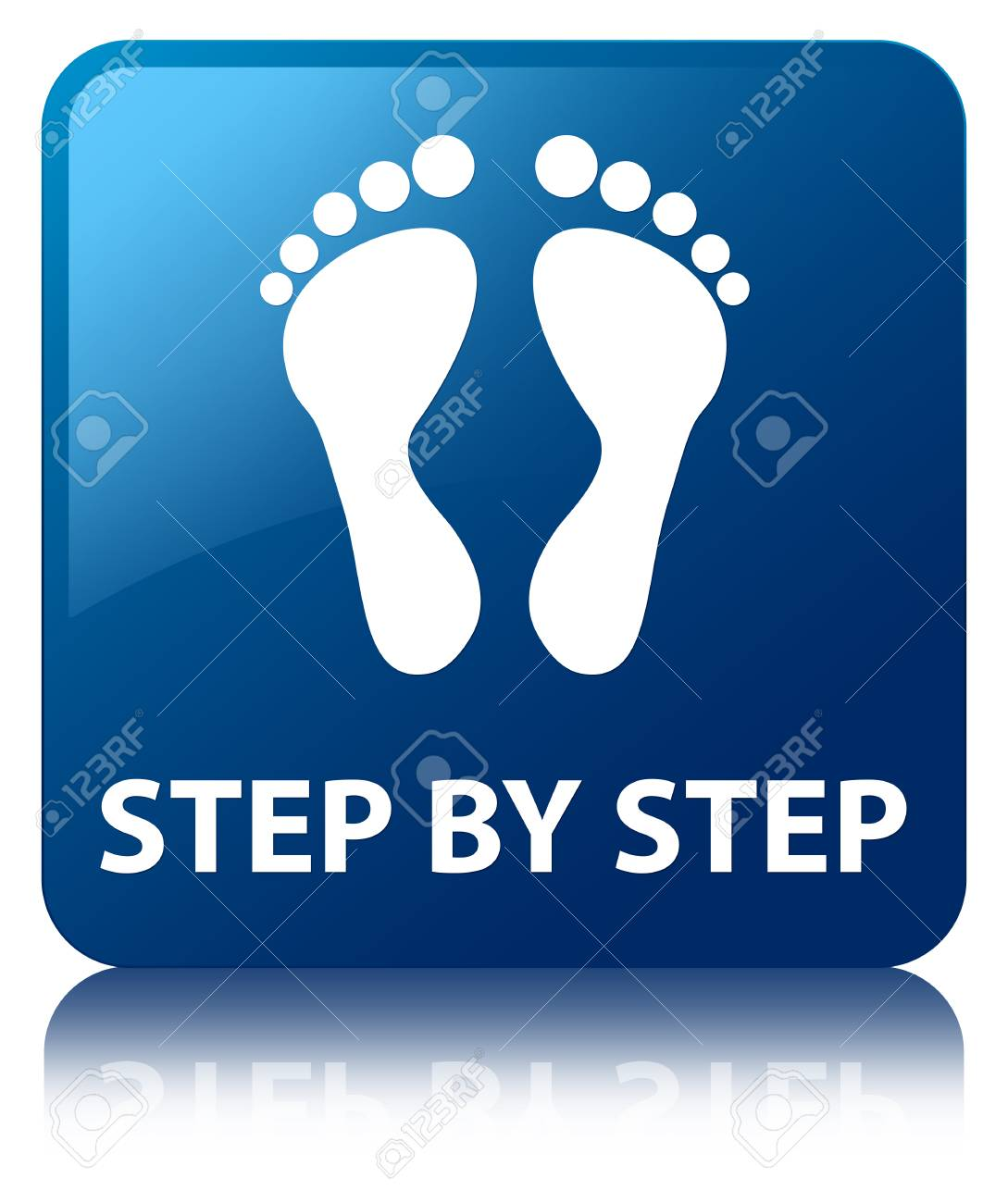 Step by step  footprint icon  glossy blue reflected square button Stock Photo - 22231108