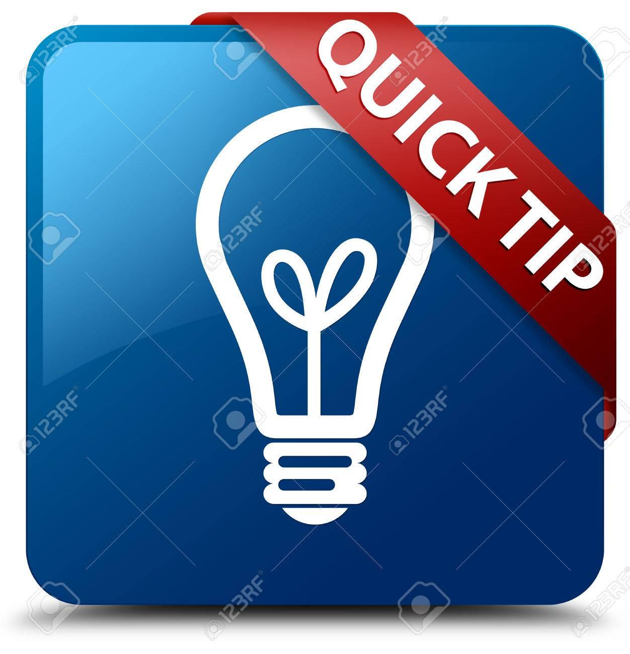 Quick-Tipp (Glühbirne Symbol) Glänzend Blauen Schalter Lizenzfreie ...
