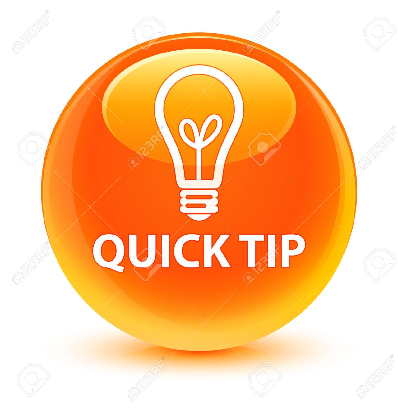quick tip bulb icon glassy orange button stock photo picture and
