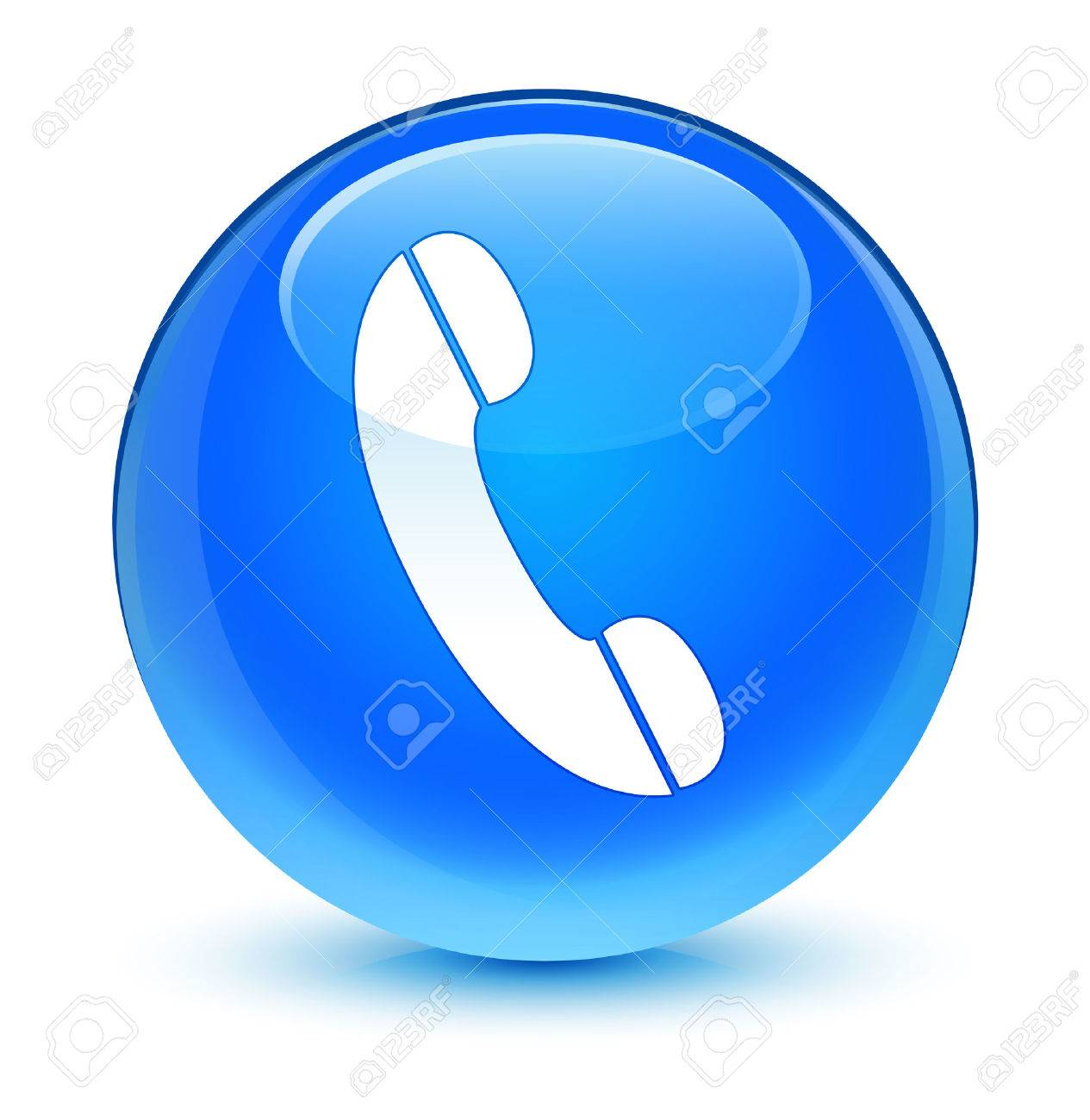 Phone icon glassy blue button