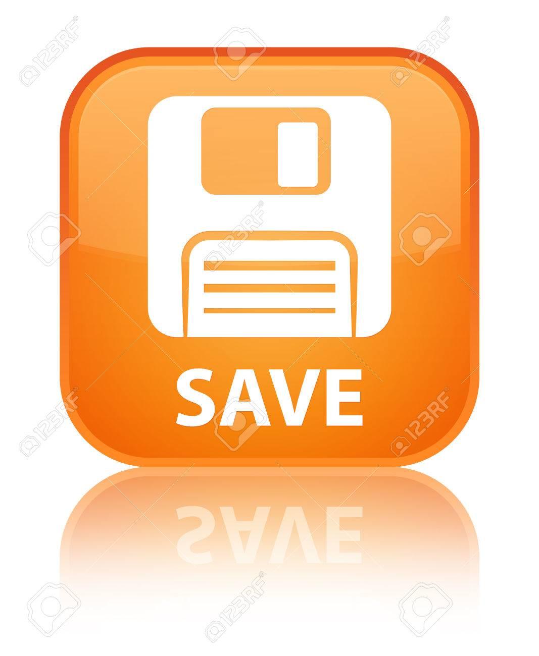 Botón Cuadrado Naranja Guardar (icono Del Disquete) Fotos ...