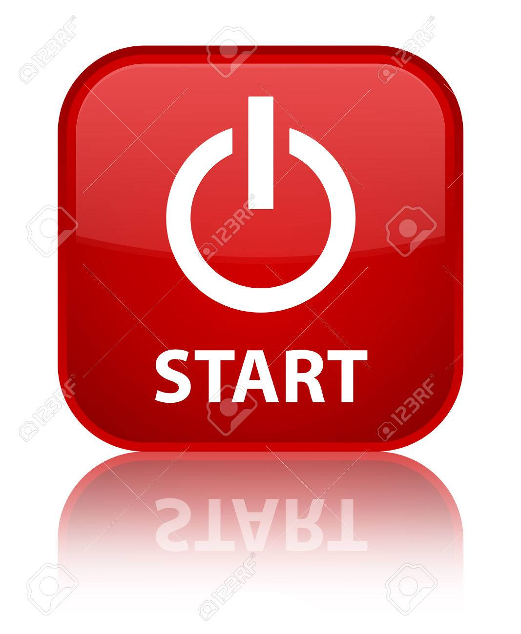 Start (power Icon) Red Square Button Stock Photo, Picture And ...