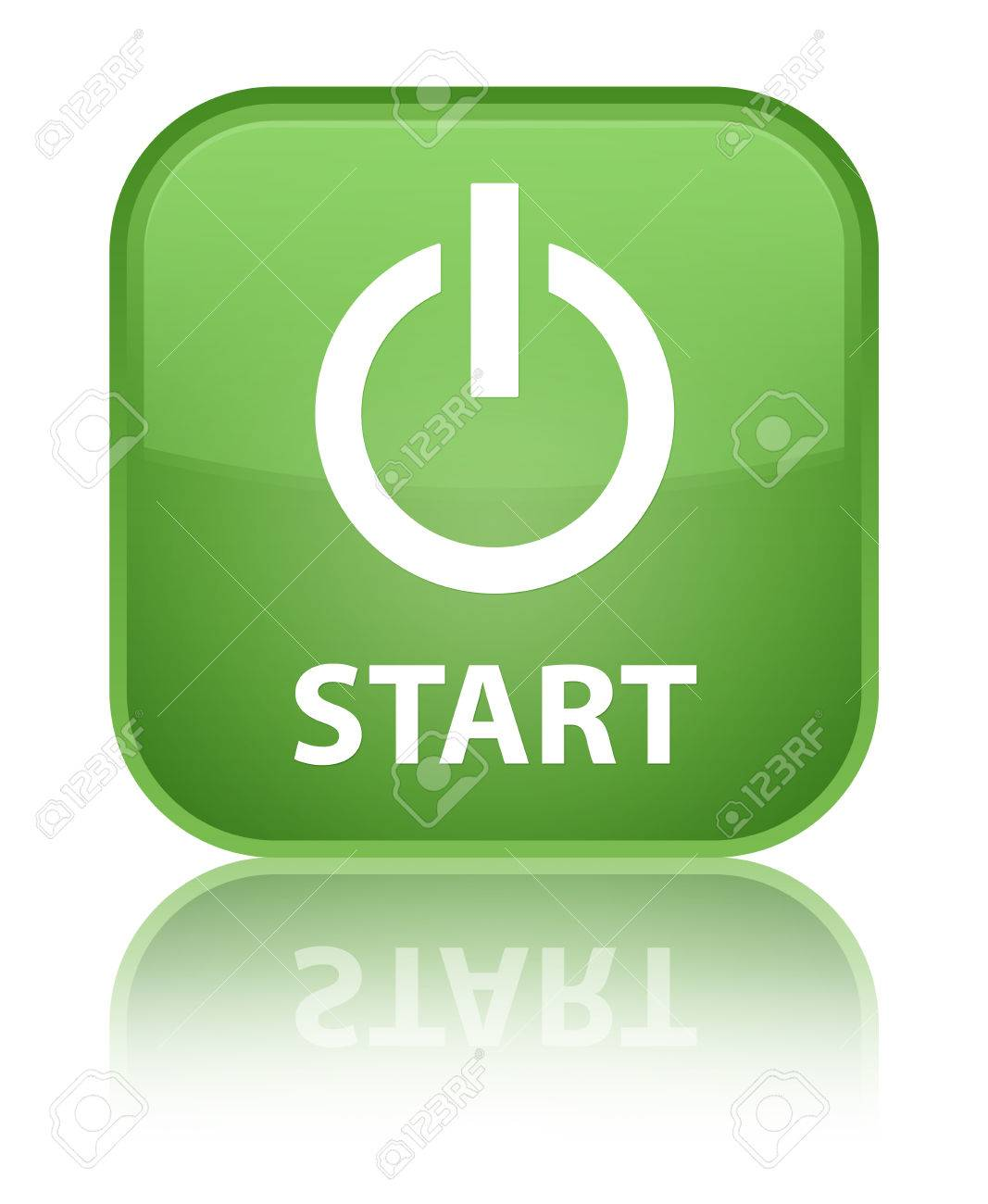 Start (power Icon) Soft Green Square Button Stock Photo, Picture And ...