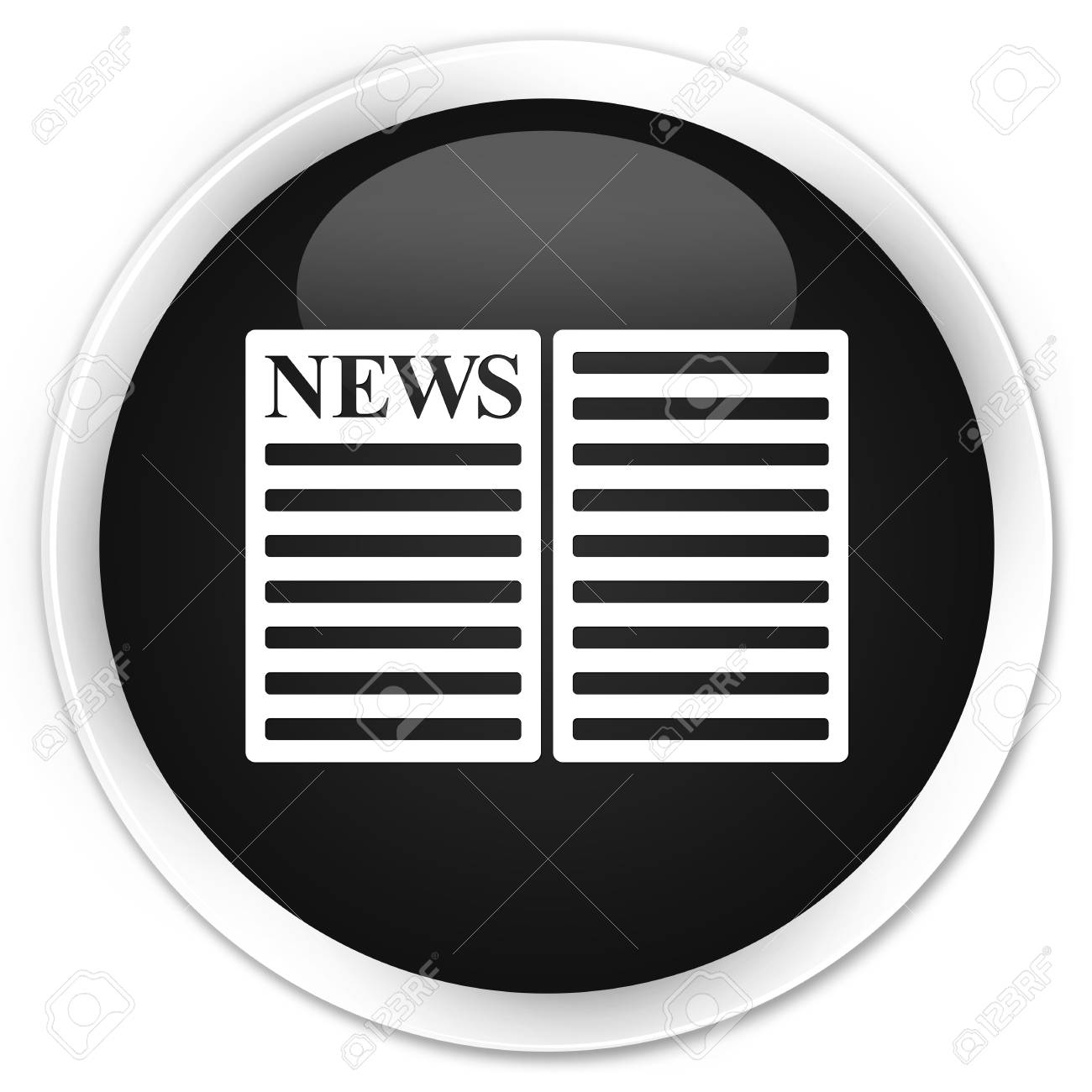 newspaper icon black glossy round button stock photo, picture and