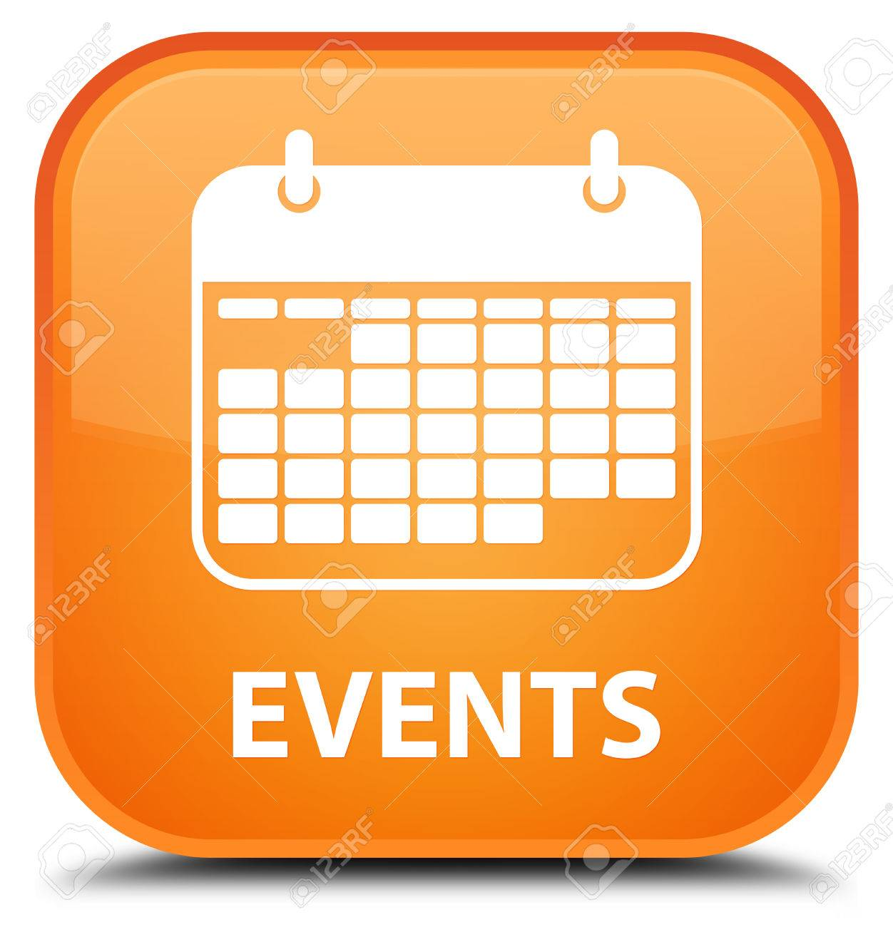 events calendar icon orange square button stock photo 55577006