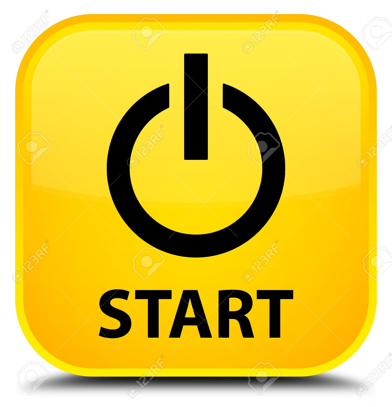 Start (power Icon) Yellow Square Button Stock Photo, Picture And ...