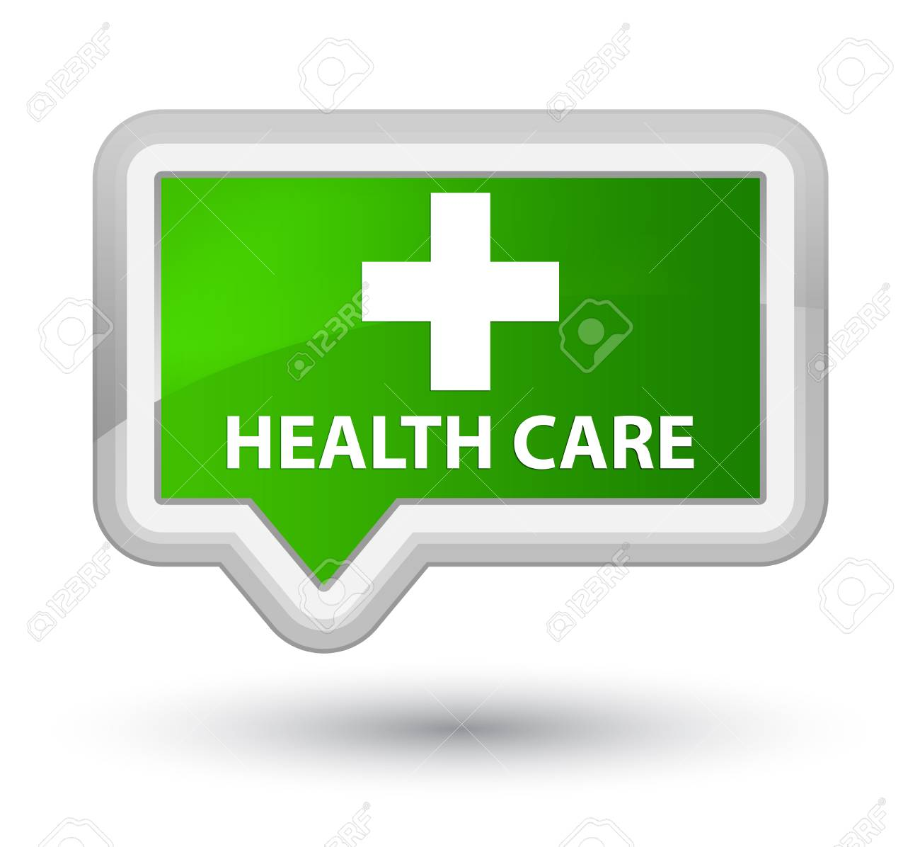 Health Care Plus Sign Green Banner Button Stock Photo Picture And