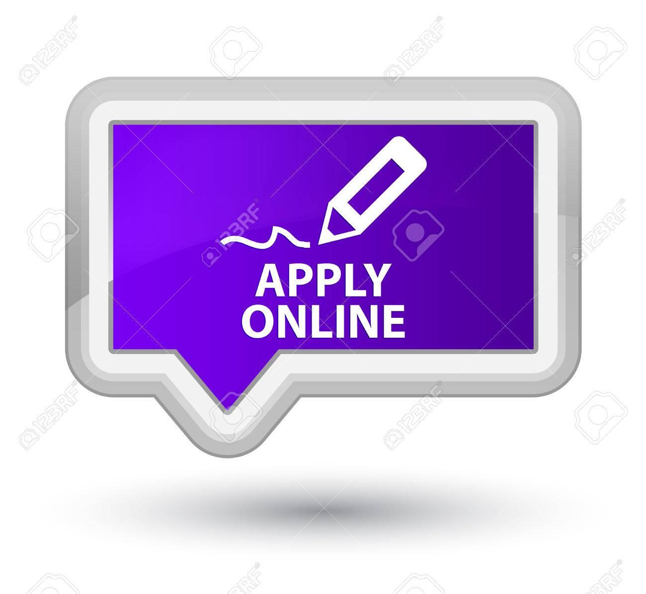 Apply Online (edit Pen Icon) Purple Banner Button Stock Photo ...