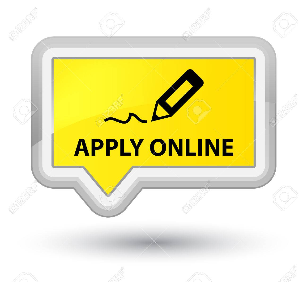 Apply Online (edit Pen Icon) Yellow Banner Button Stock Photo ...