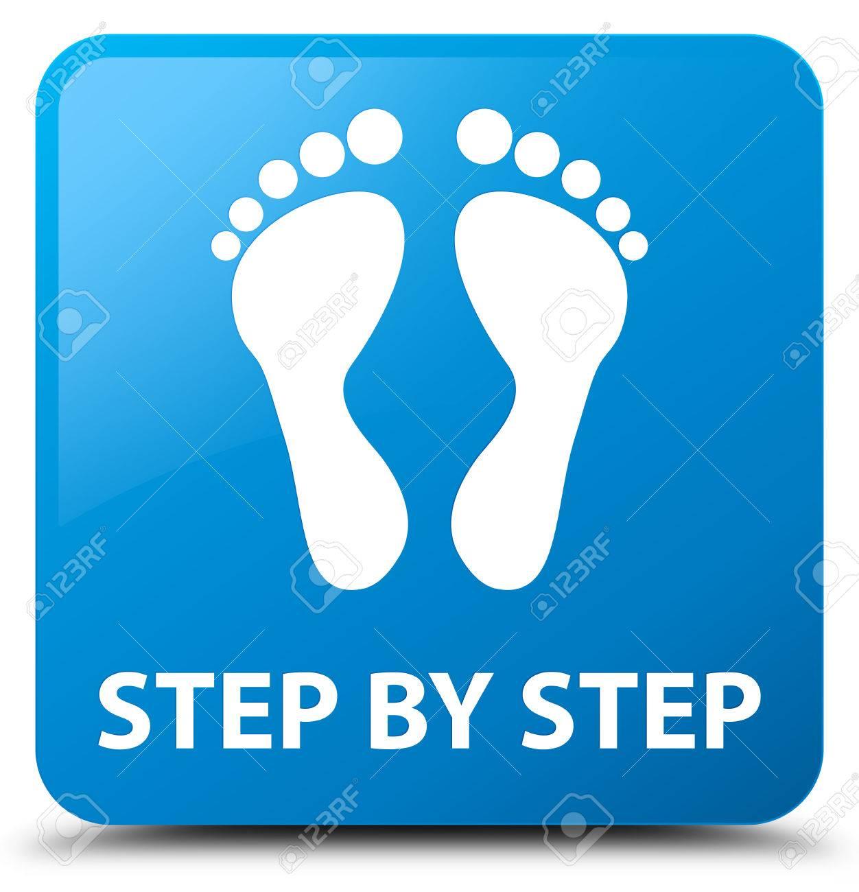 Schritt Für Schritt (Footprint-Symbol) Cyan Blauen Schalter ...