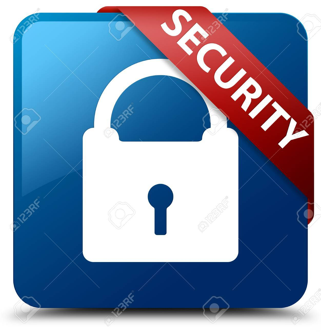 Security (padlock Icon) Blue Square Button Stock Photo, Picture And ...