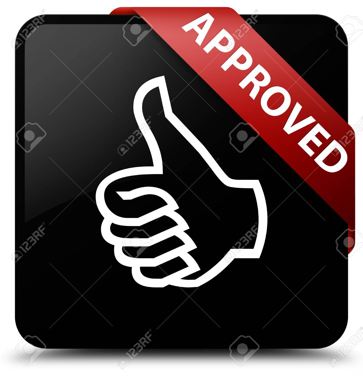 Approved Thumbs Up Icon Black Square Button Stock Photo Picture