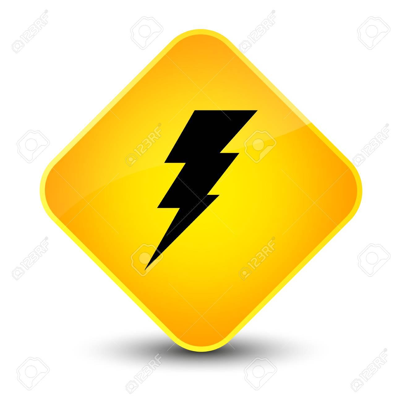 Elektrizität Symbol Isoliert Auf Eleganten Gelben Diamant ...