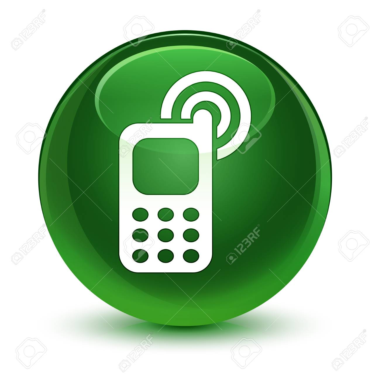 Cellphone Ringing Icon Isolated On Glassy Soft Green Round Button