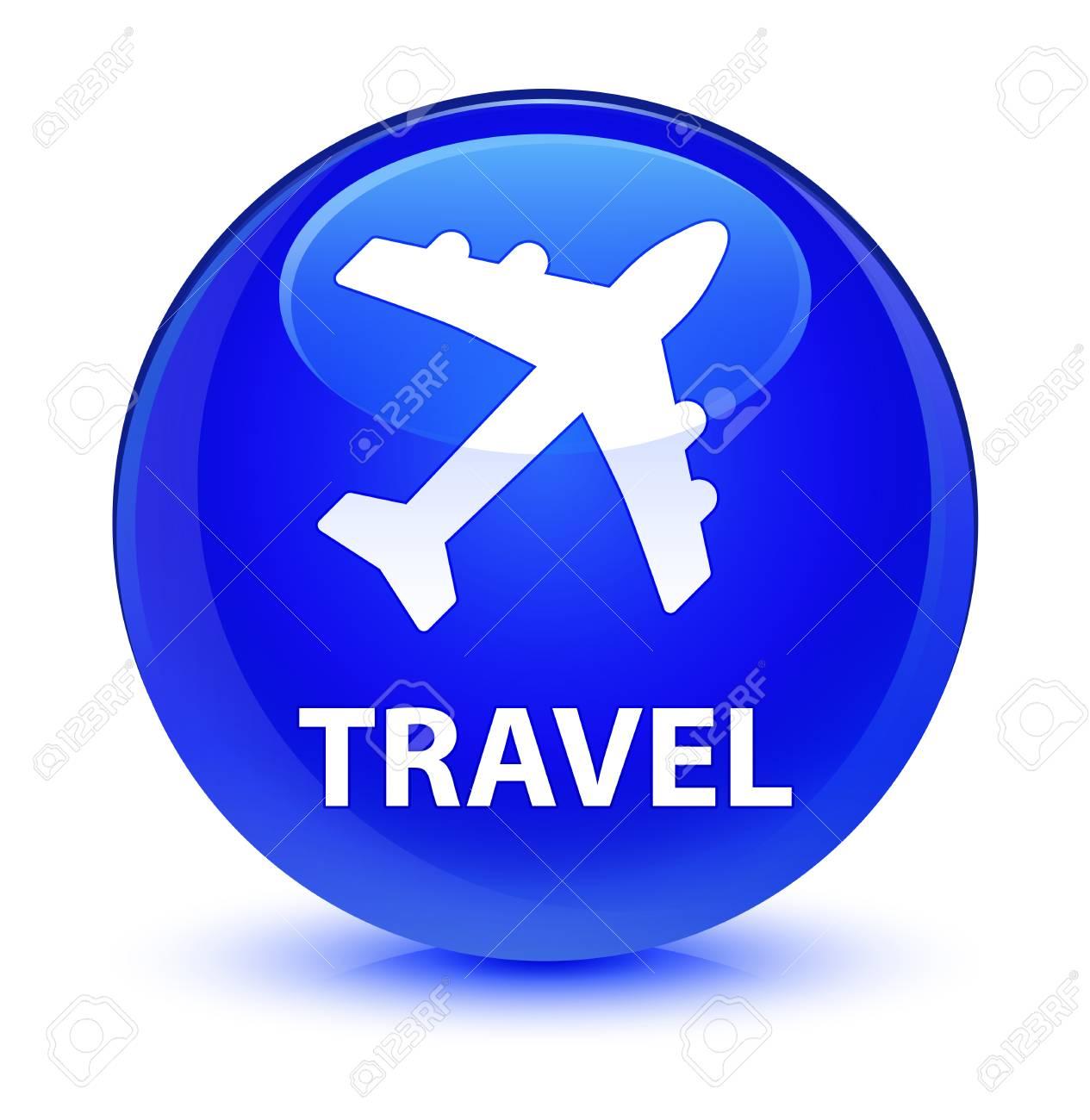 Reizen Vliegtuig Icoon Geïsoleerd Op Glasachtige Blauwe Ronde Knop