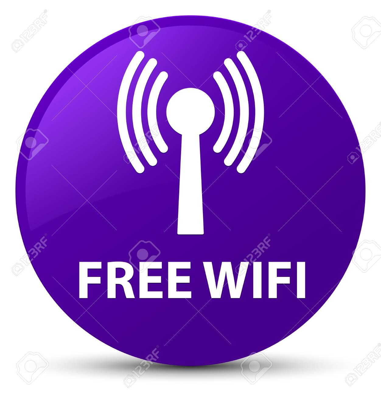 無料 Wifi 無線 Lan ネットワーク 紫色の円形ボタンの抽象的な