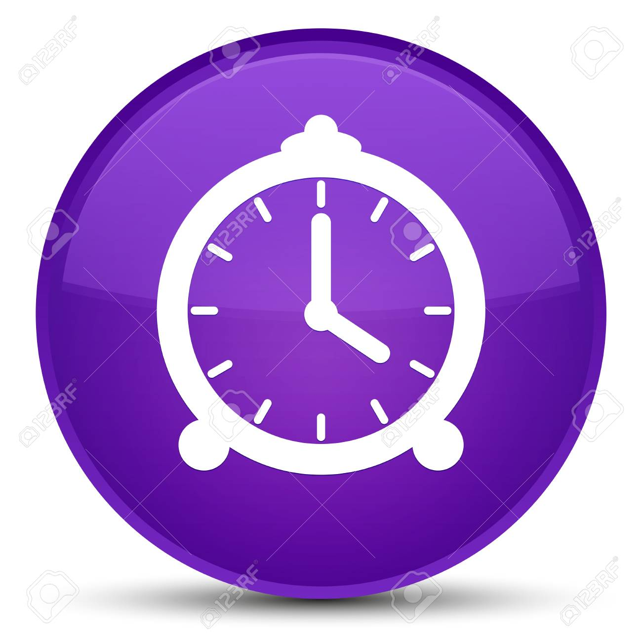 Alarm Clock Icon Isolated On Special Purple Round Button Abstract Stock Photo Picture And Royalty Free Image Image 89526049