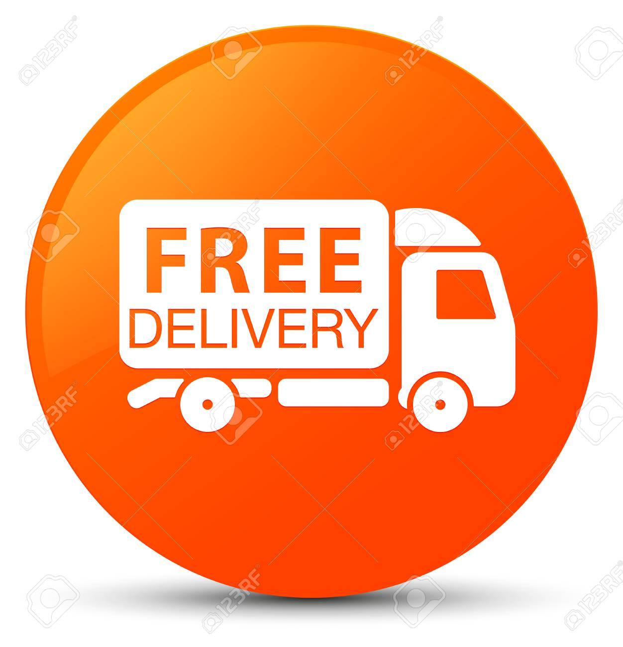 オレンジ丸ボタンの抽象的なイラストに分離された無料配達トラック