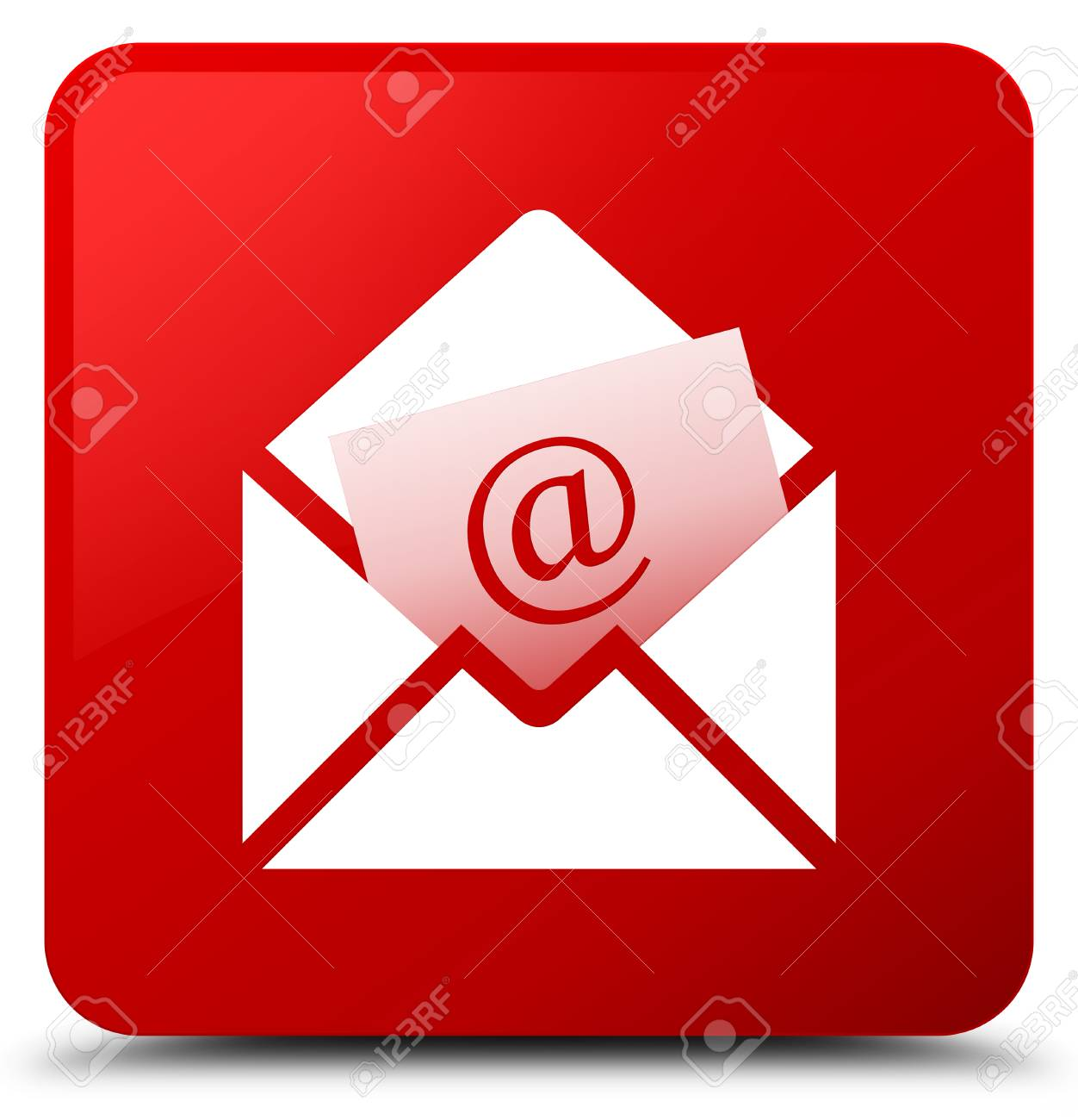 赤い正方形ボタンの抽象的なイラストに分離されたニュースレター E