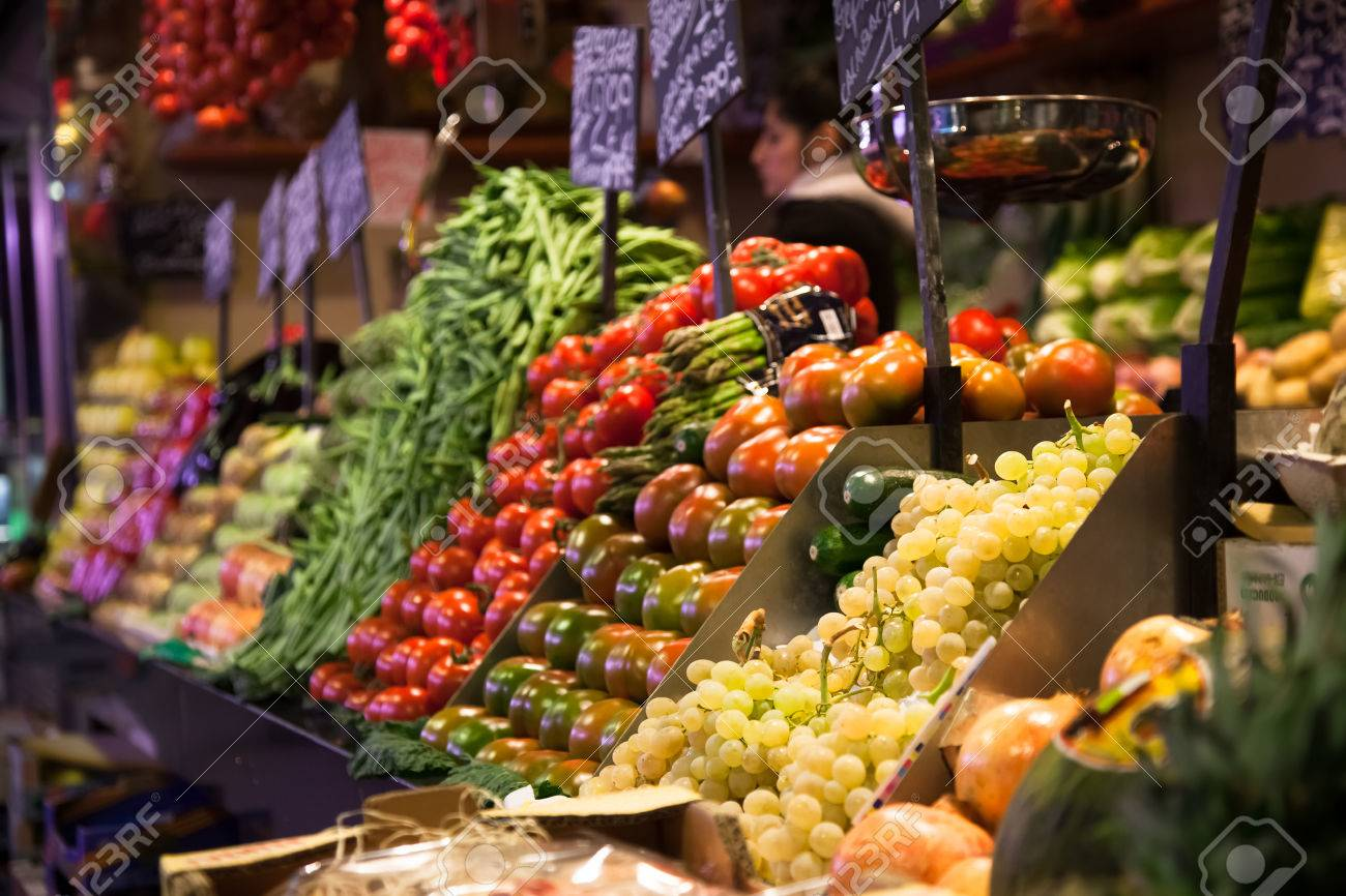 Fruit stand at the Boqueria market in Barcelona, Spain - 43953033