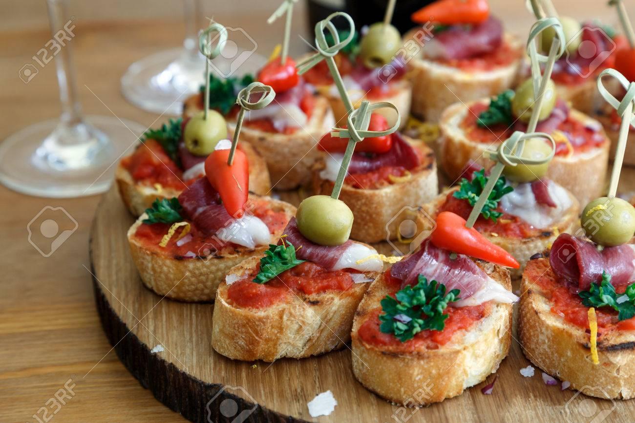 pintxos tapas spanish canapes party finger food stock photo