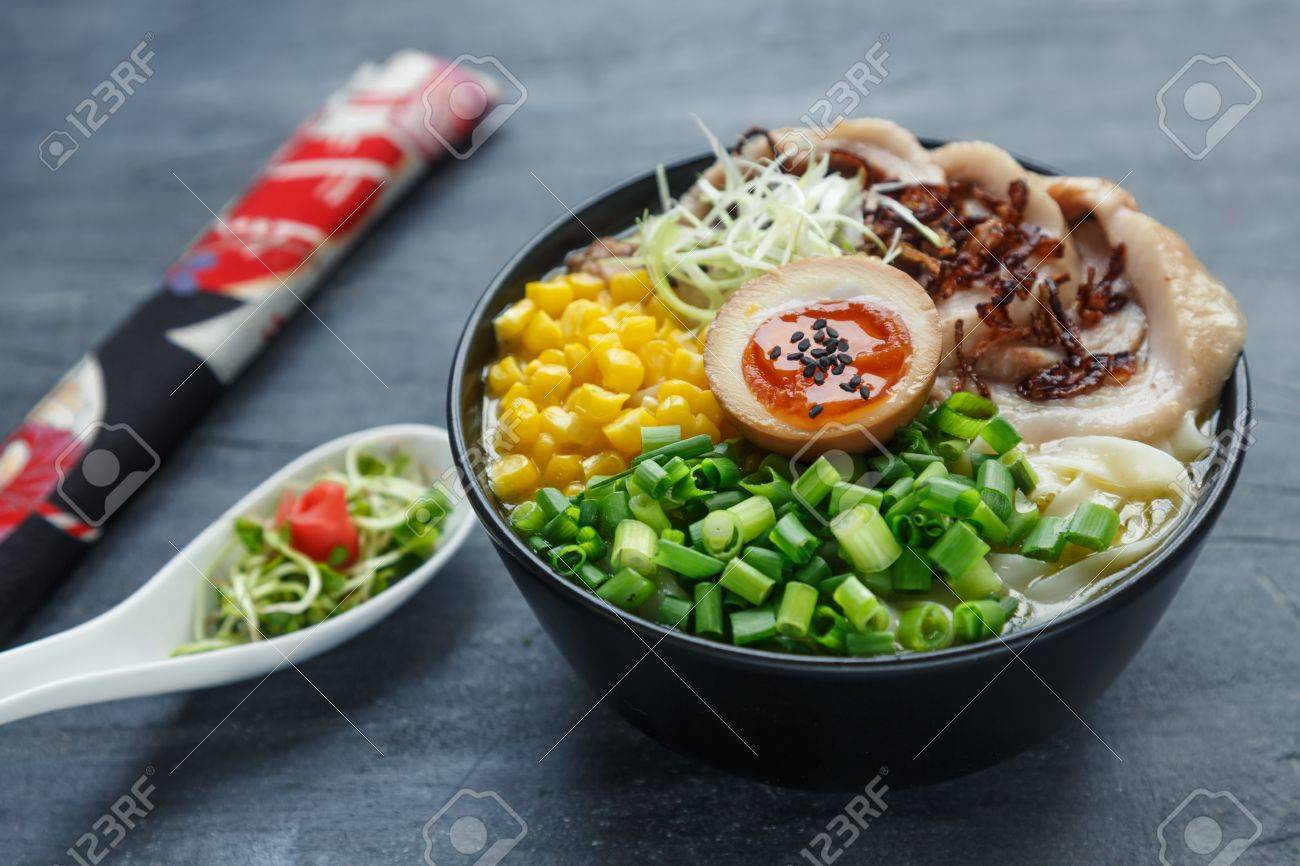 japanese tonkotsu ramen, pork bone broth noodles with chashu