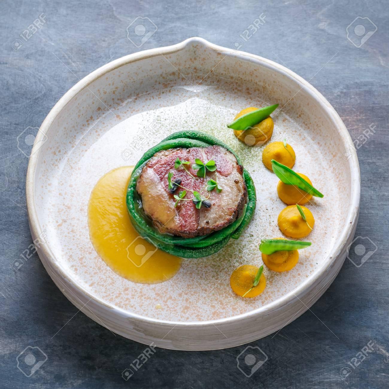 Haute Cuisine Pork Sous Vide Steak Fine Dining Stock Photo