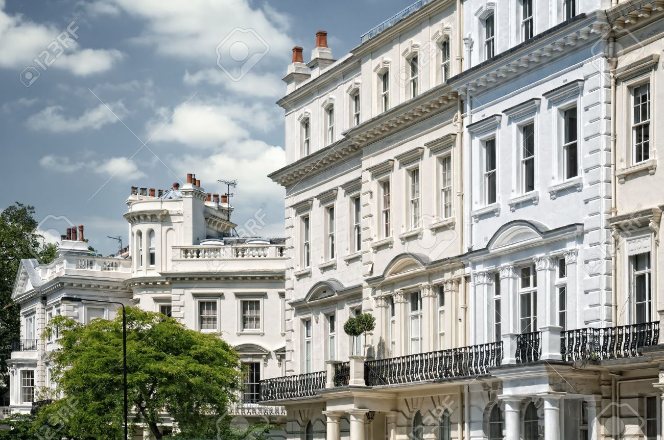 Elegant Apartment Building In Notting Hill, London. Stock Photo ...