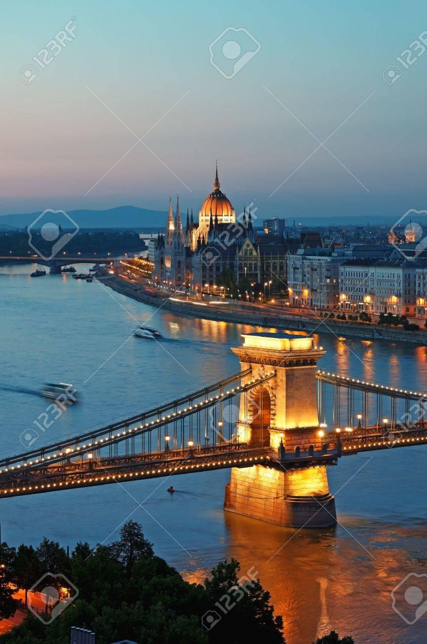 View of Chain Bridge, Hungarian Parliament and River Danube form Buda Castle. Stock Photo - 10008600