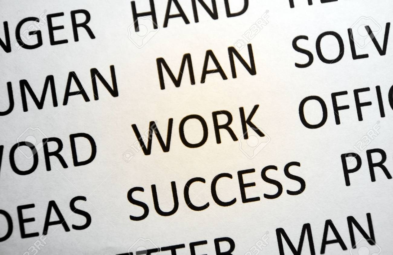 Background with words work, man, sucess, solve, view top Stock Photo - 6129318