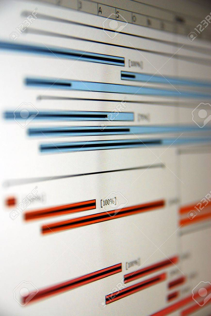 A Gantt chart is a type of bar chart that illustrates a project schedule. Stock Photo - 6462575