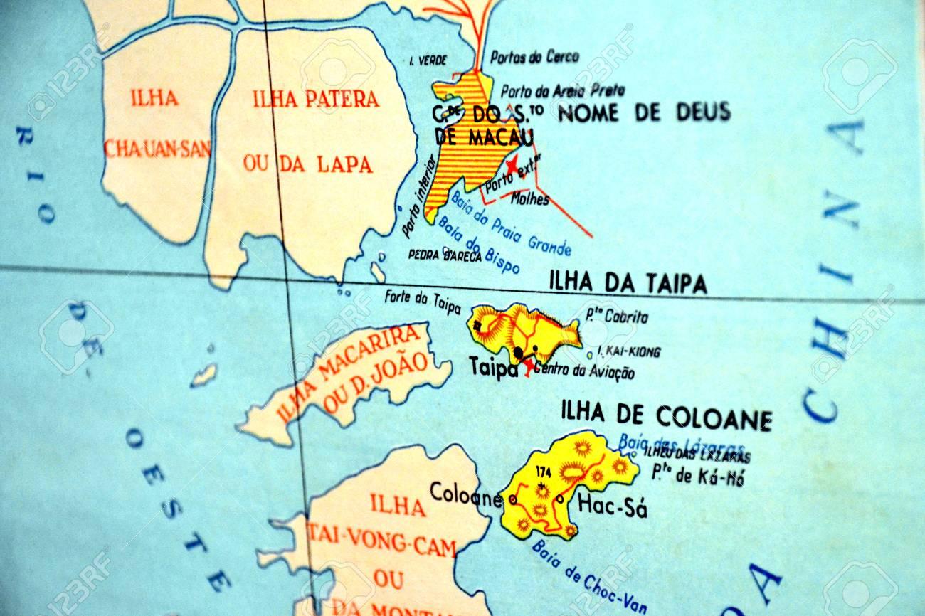 Macau On World Map.Macau Portugal Old Map Close Up Focus Portuguese Stock Photo