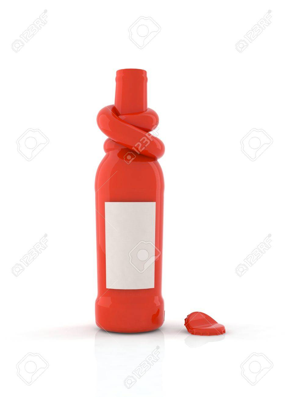3d red bottle with knot Stock Photo - 9171564