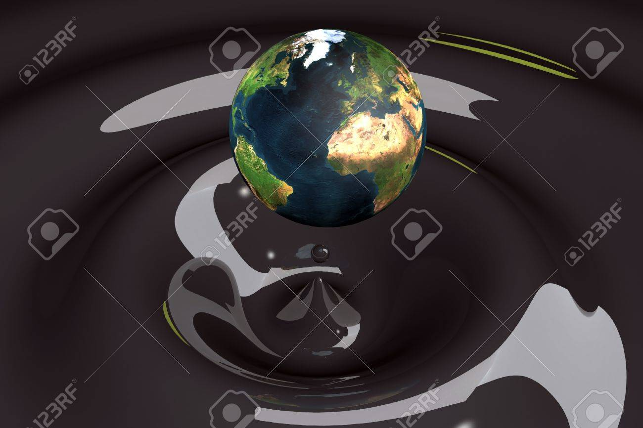 the world as a drop on liquid black wavy 3d illustration Stock Photo - 9432053