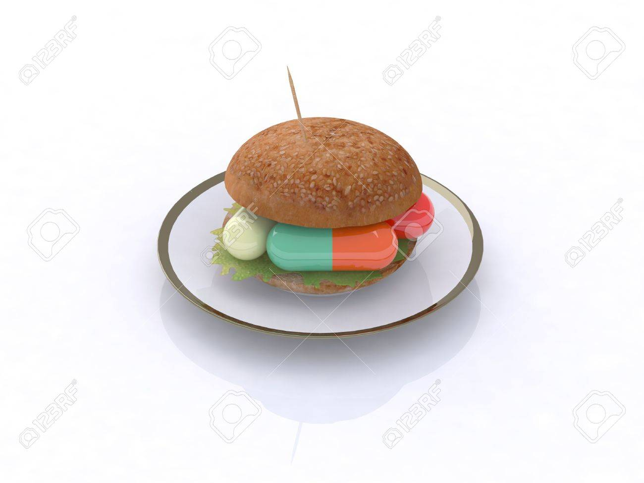 colored pills in the sandwich, food chemist concept, 3d illustration Stock Photo - 9460140