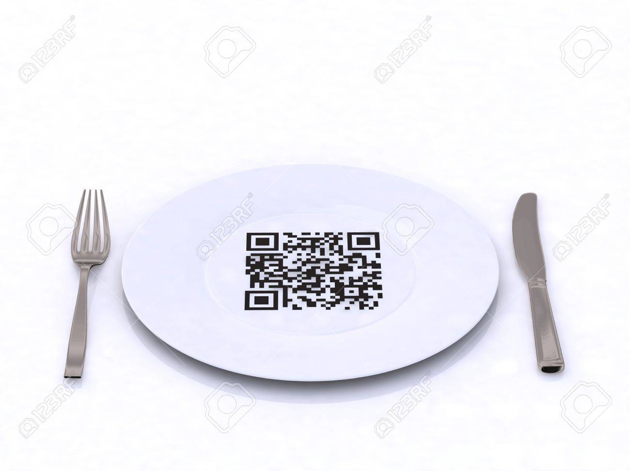 plate with fork, knife and QR code, 3d illustration Stock Illustration - 9460200