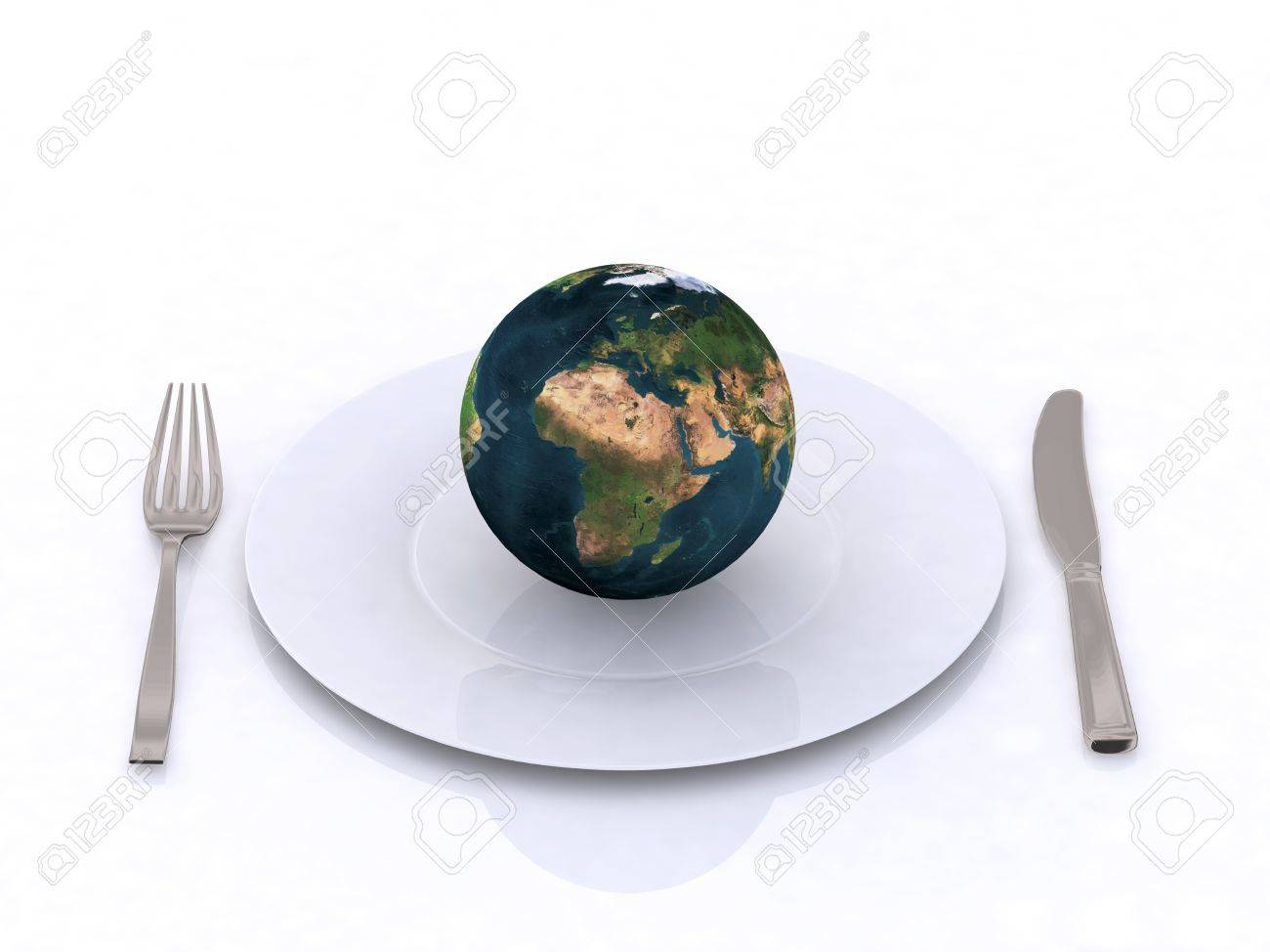 the world on a plate 3d illustration Stock Photo - 9460221