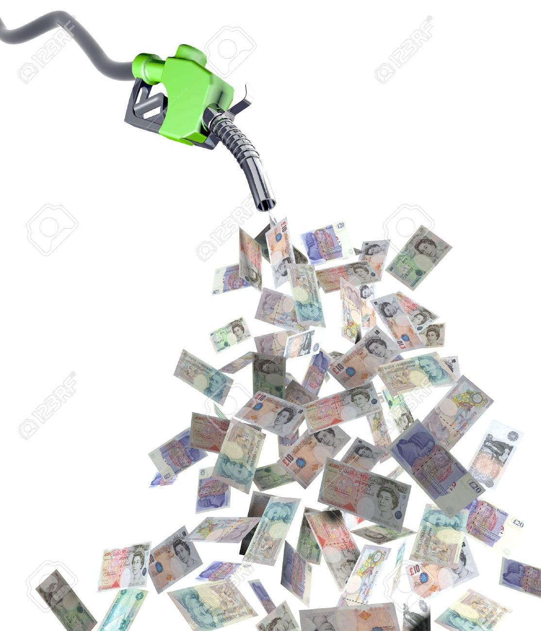 fuel nozzle with pound banknotes 3d illustration Stock Illustration - 9460238